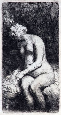 Rembrandt drypoint and etching on rare, fibrous oriental paper