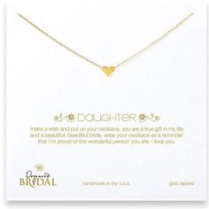 Dogeared Daughter Simple Heart Necklace Gold Dipped