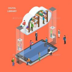 Digital Library Flat Isometric Vector Concept. by TarikVision Digital library flat isometric vector concept. People going to cloud library through mobile device. Archive includes: JGP file 50