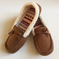 NIB Cozy Moccasin Slippers Only tried on one. They're a size 9-10, but more suitable for a 9 or 9.5. Nice rubber sole. So cute! Dearfoams Shoes Slippers