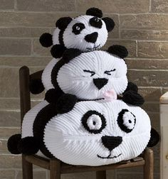 Free Knitting Pattern for Panda Stack - I smile every time I look at these panda pillow toys. Adorable panda pillow toys are easy to knit in 3 sizes: 7 3/4″, 11″, and 17″. Designed by Premier Yarns. I think instead of stuffing them you could use them over a pillow form or put in a zipper as a pajama pal.
