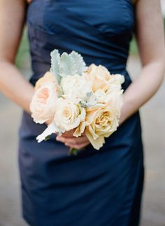 Bridesmaid's Flowers Pastel Peach Roses, Pastel Peach English Garden Roses, White Roses, Dusty Miller