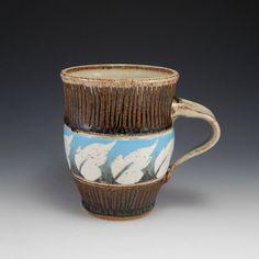 ceramic mug, coffee mug, sgraffito pottery, wheel thrown cup, leaf design, ombre mug