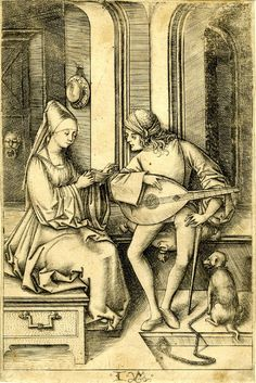 The Lute Player and the Singer; the couple seated within an interior; second state. c. 1500  Engraving Israhel van Meckenham