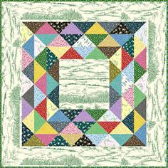Little House on the Prairie - Corn and Beans Free Quilt Pattern.  A thinner version of the colorful part could make cute frames for a cut-up-panel quilt.