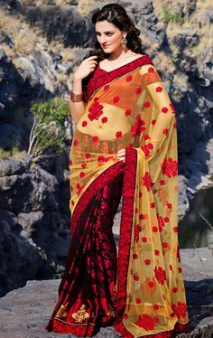 Picture of Good Looking Black and Pale Yellow Designer Net Saree Online Shopping