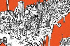 ilustración barcelona, diseño revista vueling