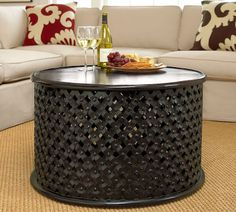 Black Bamileke stool in a living room Hand Painted Furniture, Home Furniture, African Interior, Small Coffee Table, Drum Table, Living Room With Fireplace, Living Rooms, African Design, Rustic Table