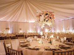 Draped ceiling wedding reception