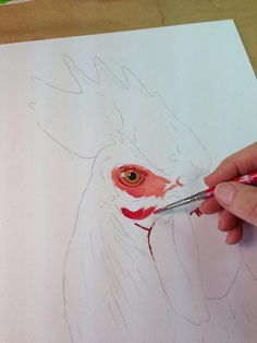 My favorite red is Napthol Crimson. Then I mix in a little Cad Yellow, Titanium white, and some I add Cad Red Deep to for darker richer shadows. Oil Painting Lessons, Painting For Kids, Painting & Drawing, Rooster Painting, Rooster Art, Tole Painting, Chicken Painting, Chicken Art, Watercolor Bird