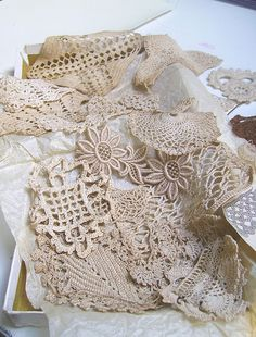 old lace - great for crazy quilts and ribbon embroidery