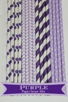 50 Purple Princess  Paper Straw Mix  PAPER STRAWS by PartyDelights, $8.00