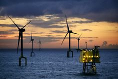 Beautiful shot of an offshore wind farm