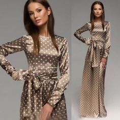 Hot Sale 2016 Maxi Long Dress Long Sleeve Vintage Polka Dot Dress Elegant Long Evening Party Dress With Belt Vestidos D33671W