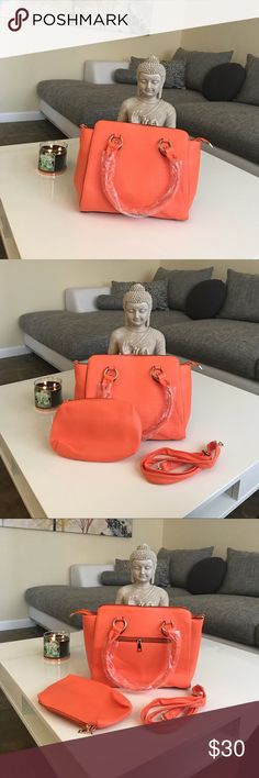 Brand new ! Gorgeous coral like handbag purse Brand New Set !   Gorgeous coral like color handbag purse   Comes with strap to use as a shoulder bag   Comes with mini bag for your makeup or other essentials Bags Satchels