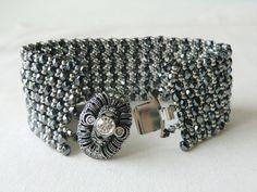 Beadwoven Bracelet Beaded Bracelet Czech glass bead braceleet by CharlotteJewelryBox