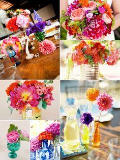 colorful fiesta flower centerpieces