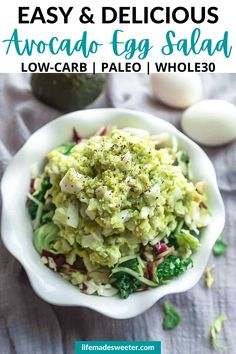 This Avocado Egg Salad is a healthy twist on the classic egg salad recipe using creamy avocado and a Whole30 approved mayo. It's super tasty, nutritious and the perfect way to use up any leftover hard boiled eggs. Makes a quick and easy low carb, keto or paleo lunch or snack.