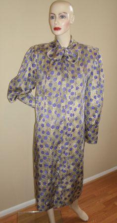80s vintage Marshall Field's Private Collection purple gray leopard print silk secretary shirt dress 14, $49.00