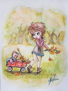 "Watercolor ""Walk in the park with my teddy"""