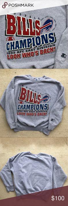 "Vintage Buffalo Bills Starter Sweat Shirt Vtg 90s  Buffalo Bills AFC Championship Starter Crew neck from 1995. Size medium. Pit to pit 21.5"". Length 24"". STARTER Shirts Sweatshirts & Hoodies"