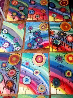 Kandinsky Art For Kids Style 31 Best Ideas Rainbow Crafts, Rainbow Art, Rainbow Painting, Kindergarten Art, Preschool Art, Art Floral, Art 2nd Grade, Club D'art, Classe D'art
