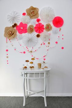 paper flowers & garland, brown mixed with neon pink & white Party Decoration, Flower Decorations, Wall Decorations, Festa Party, Diy Party, Neon Party, 3d Wall Art, Paper Crafts, Diy Crafts
