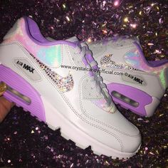 Crystal Nike Air Max 90's in Unicorn Holographic Bling Nike Shoes, Nike Free Shoes, Allbirds Shoes, Nike Shoes Outlet, Tennis Shoes Outfit, Nike Tennis Shoes, Sports Shoes, Jordan Shoes Girls, Girls Shoes