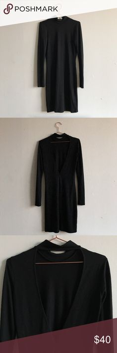 "Aritzia black open back dress Aritzia Wilfred Free dress Mock neck, open back.  Worn once, great condition.  Lightweight knit fabric I'm 5'2"" and it goes just past my knees. Aritzia Dresses Long Sleeve"