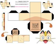 Pokemon Papercrafts Box Pokemon, Pokemon Craft, Pokemon Party, Pokemon Birthday, Pokemon Meowth, Pikachu, Papercraft Pokemon, Paper Cube, 3d Templates