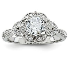 Unique 14K White Diamond Halo Round Antique Vintage by LyonsJewelry, $799.00