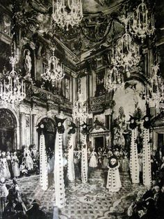 Phantoms of Venice, black and white giants inspired from an old carnival. Costumes created by Salvador Dalì  for the ball held by de Charles De Beistegui in Venice in 1951