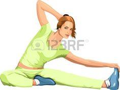 chica dedicada a los deportes de estiramiento Foto de archivo