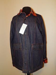 Womens Denim Jacket VALLEY CORP NWT Size Grand Plaid Collar #ValleyCorp #Denim