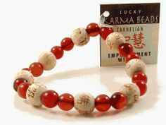 Lucky Karma Bracelet with Carnelian for Empowerment & Wisdom by Love & Lucky Love & Lucky. $25.00. Come with a card attached to the bracelet with a text to help you focus your intentions.. Genuine Carnelian and Wooden Karma Beads to feel more energized and focused, have confidence, motivation and determination. The bracelet measure 7 inches in diameter (6.5 cm) and stretch to fit most wrists.. Lucky Karma Bracelet with Carnelian for Empowerment & Wisdom