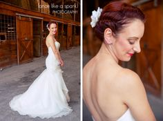 Our bride Katie in her Wtoo gown!  Love her hair!!  Photo by: http://oncelikeasparkslides.com/journal/