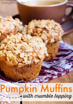 Pumpkin Muffins with Crumble Topping. Love that it has the sugar & more pumpkin than traditional pumpkin bread recipes. Pumpkin Muffins with Crumble Topping. Love that this recipe has the sugar & more pumpkin than traditional pumpkin bread recipes. Just Desserts, Delicious Desserts, Dessert Recipes, Yummy Food, Drink Recipes, Pumpkin Bread, Pumpkin Spice, Pumpkin Oatmeal Muffins, Sugar Pumpkin