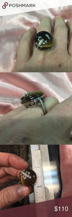 Large cats eye sterling & accent diamond ring This oval  cats eye measures approx. 23mm - the frog on top has 7- .5 mm diamonds !! Approx. .05 cttw- an estate piece and I didn't polish or clean it at all Jewelry Rings