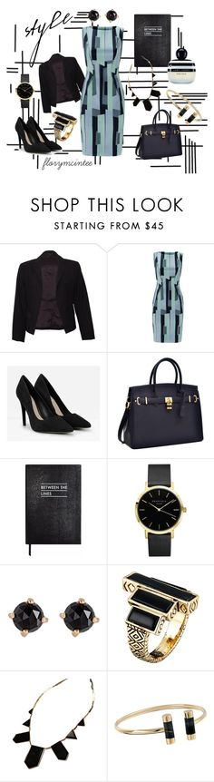 """""""Between the Lines"""" by florymcintee ❤ liked on Polyvore featuring Theory, Lela Rose, CHARLES & KEITH, Sloane Stationery, Irene Neuwirth, House of Harlow 1960, Michael Kors and Marc Jacobs"""