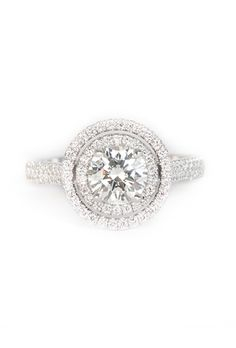 Brides.com: Halo Engagement Rings DY Capri pavé engagement ring in platinum, price upon request, David YurmanPhoto: Courtesy of David Yurman