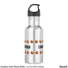 Stainless Steel Water Bottle Customized Basketball - This personalized stainless steel water bottle is a fun gift for a basketball player, coach, fan, or team. Decorated with two rows of basketballs. NAME repeats 2 times - easy to modify - Just change it in one place. Supports text up to 15 characters. Very bright and eye catching. All Rights Reserved © 2016 Alan & Marcia Socolik.