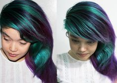 Makes me want to try some teal with the purple streaks...#dyed hair #purple and teal