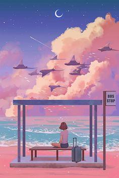 anime girl wallpaper handy am strand haltestelle sitzt wolken sonnenuntergang fliegen mädchen im rücken