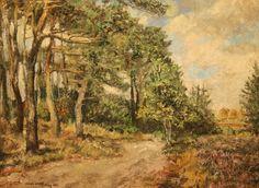 """Hein Auke Kray 1901-1995. Weg bij Hooghalen. (Lid van kunstkring """"De Drentse Schilders"""")"""
