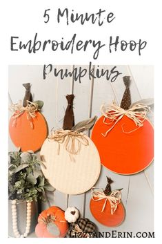 Here's an easy DIY project for you. A 5 Minute Embroidery Hoop Pumpkins – Lizzy Fall Crafts, Decor Crafts, Holiday Crafts, Diy Crafts, Home Decor, Pumpkin Crafts, Diy Pumpkin, Thanksgiving Crafts, Fabric Crafts