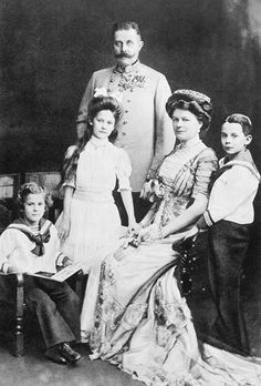 The Archduke Franz Ferdinand with his wife Sophie, and their three children (from left), Prince Ernst von Hohenberg, Princess Sophie, and Maximilian, Duke of Hohenburg.  Taken in 1910.