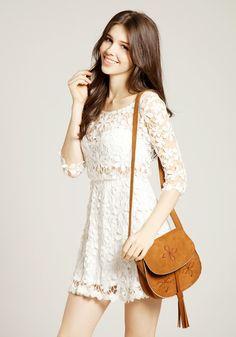 Crochet Floral Crop Sleeve Dress - Beige