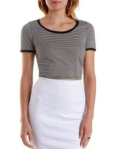 Striped & Cropped Ringer Tee: Charlotte Russe #tee #offduty #covetme