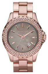 This is sooooo my favorite!!! Michael Kors 'Runway' Grey Mother-of-Pearl Watch Rose Gold .....