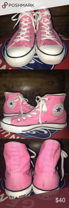 30% off Pink Converse AllStar Chuck Taylors Size 8 pink, white and black high top. Very clean, I only wore them a couple times. Nothing wrong with them, the soles are just two flat for my foot. Converse Shoes Sneakers